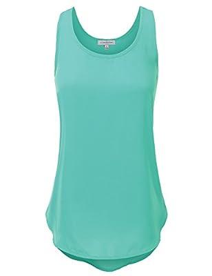 JJ Perfection Women's Plain Sleeveless Scoop Neck Woven Tank Top