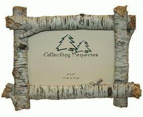 rustic birch wood log 4x6 photo frame horizontal
