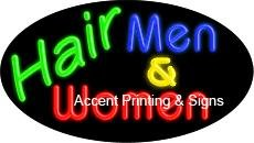 Hair Men & Women Flashing Handcrafted Real GlassTube Neon Sign by Accent Printing & Signs