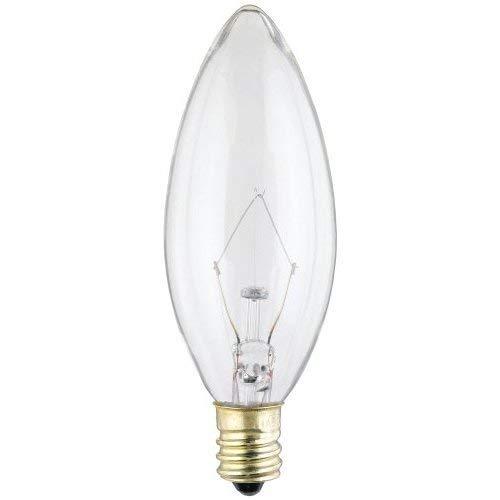 Satco S3284 Decorative Torpedo 120 volt, 60 watt B10, light bulbs, Clear 6 pack Bundle