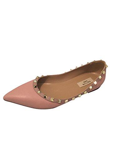 Pastel Pink Shoes - Kaitlyn Pan RockStud Ballerina Leather Flats,Pastel Pink Matte/Nude Trim/Gold Studs,7US/ 37.5EU/ 38CN
