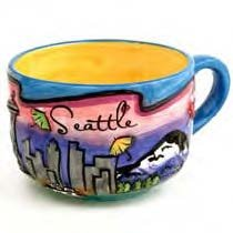 (8 5/18) SM Seattle Soup Latte Coffee Mug Umbrellas Puff Round Hand Painted With Copyrighted Seattle Magnet STMUGOLA