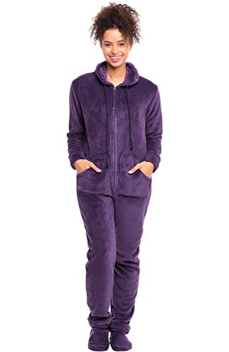Del Rossa Microfleece Footed Pajamas,Deep Purple, X-Large
