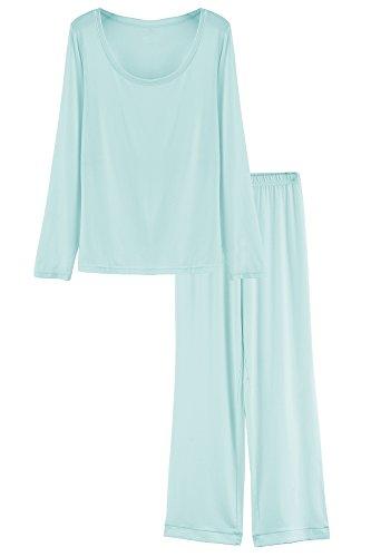 Latuza Damen Rundhalsausschnitt-Nachtwäsche mit langen Ärmeln Pyjama Set