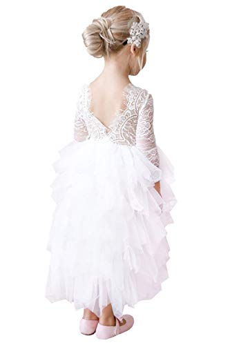 2Bunnies Girl Rose Lace Back A-Line Straight Tutu Tulle Party Flower Girl Dresses (White Sleeve Maxi, 5)