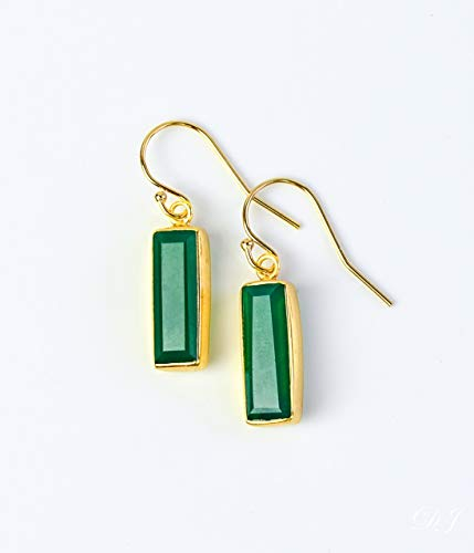 Green Onyx earrings, May Birthstone Earrings, Gemstone Bar Dangle Earrings