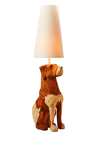 Acacia Floors - O'THENTIQUE Large Wood Dog Floor Lamp | Hand Carved Solid Acacia Wood, Rustic Coastal Design w/ Ivory Shade | Perfect Light for Bedroom, Living Room, Modern Contemporary Theme Beach House, Cabin