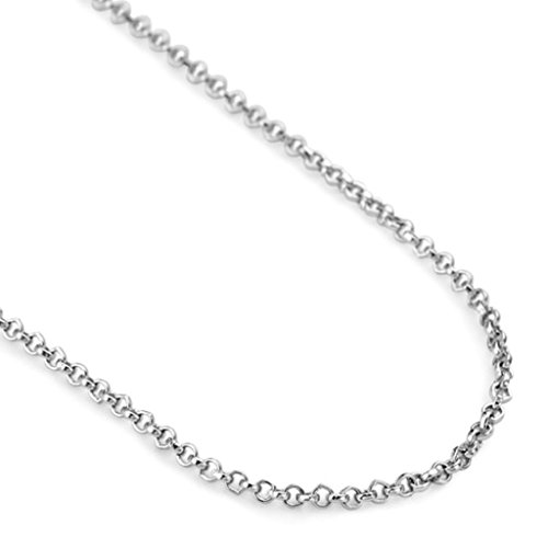 Epinki 18k White Gold Plated Necklace, Women's Pendant Necklace Pearl Chain 18 Inch Silver
