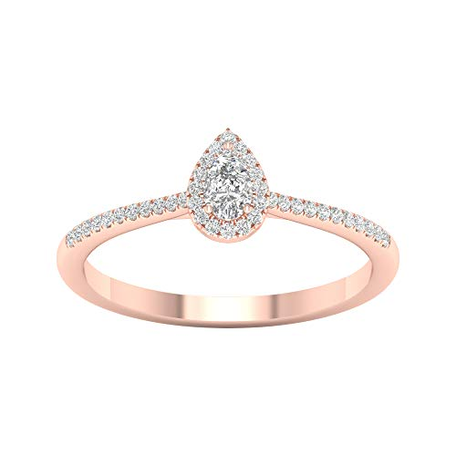 IGI Certified 1/4ct TDW Pear Single Halo Diamond Engagement Ring in 10k Rose Gold