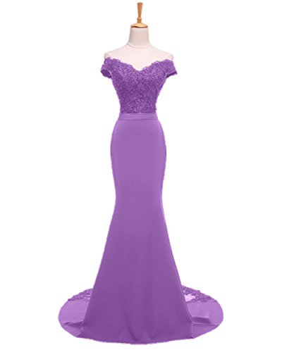 Sweet Bridal Women's Mermaid Long Evening Gowns Beaded Lace Prom Dresses Lavender US12