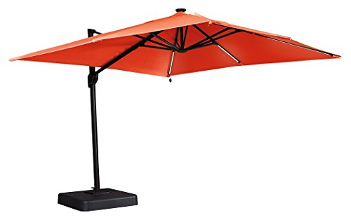 Cheap Ashley Furniture Signature Design – Oakengrove Outdoor Patio Umbrella – Modern Style – Hand Crank with Vented Canopy – Rectangular – Coral