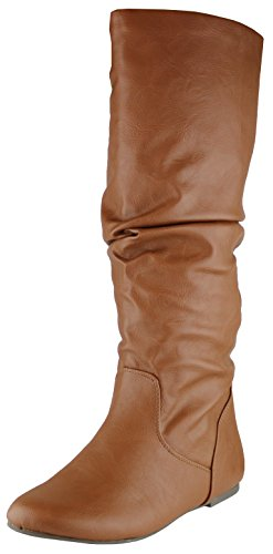 Cambridge Select Women's Slouchy Knee High Flat Boot (8.5 B(M) US, Tan Swirl PU)