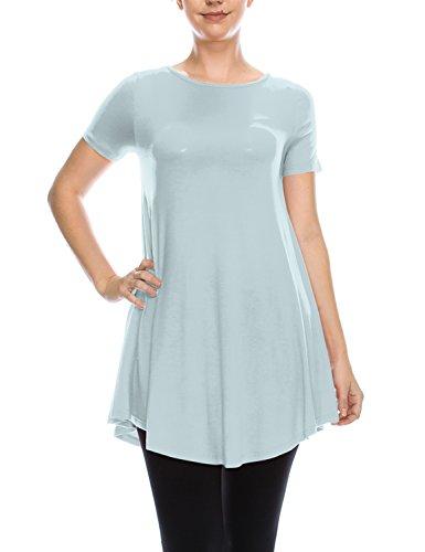 LYCA Women's Short Sleeve Round Neck Flare Tunic Ice Blue Medium