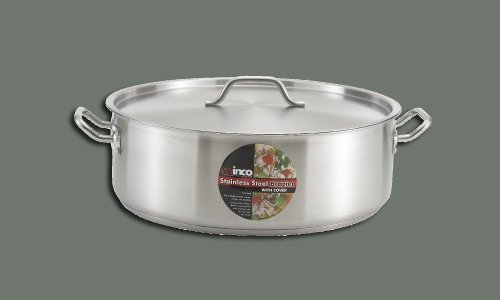 Winco SSLB-30, 30-Quart Stainless Steel Brazier Pan With Lid, Cooking Pan with Cover by Winco