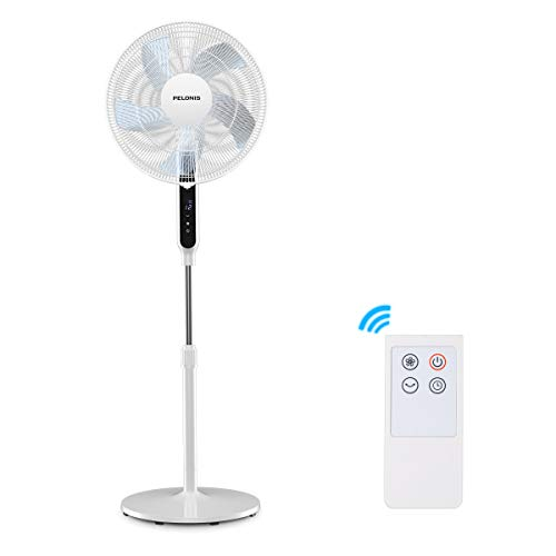 (PELONIS DC Motor Ultra Quiet Pedestal Sleeping &Baby, High Energy Efficiency Standing Fan Speed, 12-Hour Timer, Remote Control, and Adjustable Heights, FS40-19PRD, White, 16 Inch, Black&White)