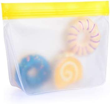 Home & Living Ziplock Leakproof Reusable Zip Shut Bags Food Storage Container Silicone Fresh Bag Kitchen Organizer(206x150mm(Yellow))