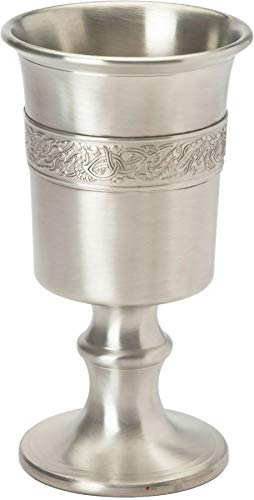 Finish Pewter Dragon - 370ml Chalice With Celtic Dragon Design Banding Pewter With Satin Finish