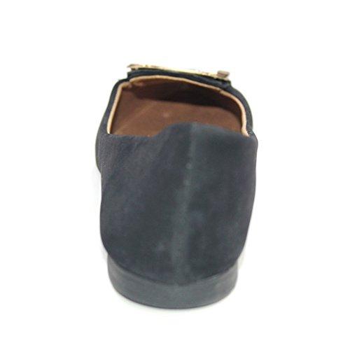 W & W, da donna, stile Casual, con scarpe da Ballerina, pompe Comfort, taglia L, colore: nero, rosso scuro, colore: albicocca, HUGO Nero (nero)