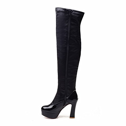 the toe heels Materials Black Above Boots knee Closed Women's Round Blend High AmoonyFashion XzqUn