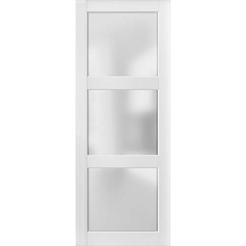 Slab Barn Door Panel Frosted Glass 3 Lites 42 x 84 inches | Lucia 2552 Matte White | Sturdy Finished Doors | Pocket…