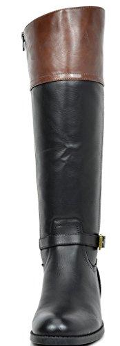 TOETOS Damen Kniehohe Reitstiefel (breites Kalb erhältlich) Schwarz Braun