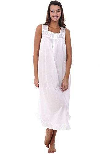 Cotton Lawn Long Gown (Alexander Del Rossa Womens 100% Cotton Lawn Nightgown, Long Sleeveless Chemise, Large White (A0581WHTLG))