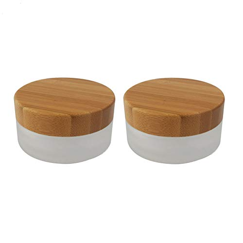 2PCS 5ML 0.2OZ Portable Empty Frosted Glass Cream Box with Bamboo Cap Hand Cream Lotion Moisturizer Storage Holder Makeup Case Refillable Cosmetic Container Jar Vials Pot for Travel