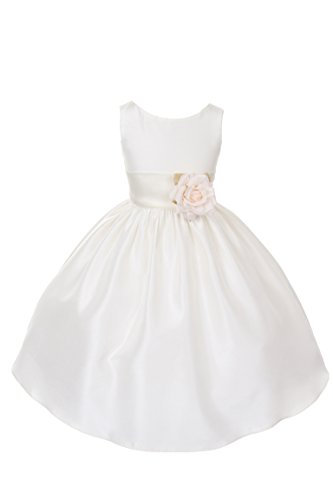 Dempsey Marie Poly Silk Flower Girl Dress With colorful Sash – IV/Ivory – (Poly Silk Flower)