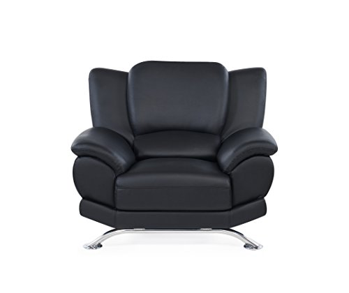 Global Furniture Rogers Collection Bonded Leather Matching Chair, Black with Chrome Legs For Sale