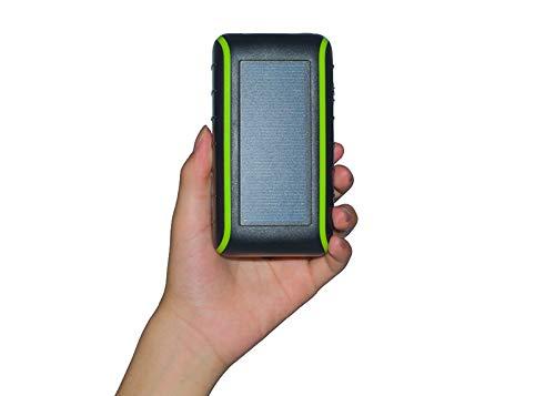 LUCKYYAN Solar Cargador De Mano Móvil De Energía Portátil Cargador De Batería Externa Cargador con Doble 2.1 A USB LED...
