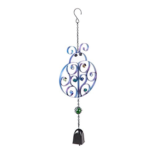 Ornaments Bell Ladybug (Evergreen Ladybug Glass and Metal Garden Bell Chime)