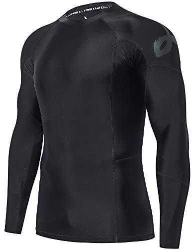 LAFROI Men's Long Sleeve UPF 50+ Baselayer Skins Performance Fit Compression Rash Guard (BLK Print, XL)