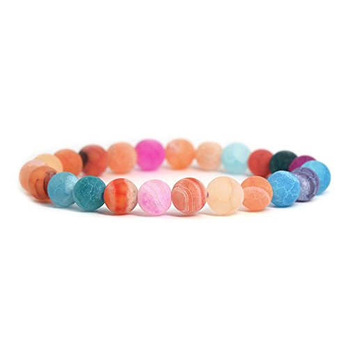Multi-color Weathered Agate Gemstone 8mm Round Beads Stretch Bracelet 7