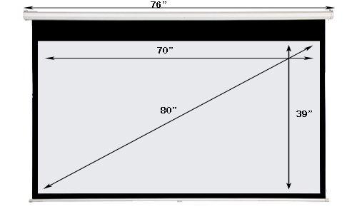 Maxstar 80in Screens Manual Pull Down Projection Screen, 16:9 Aspect Ratio-(Matte White)