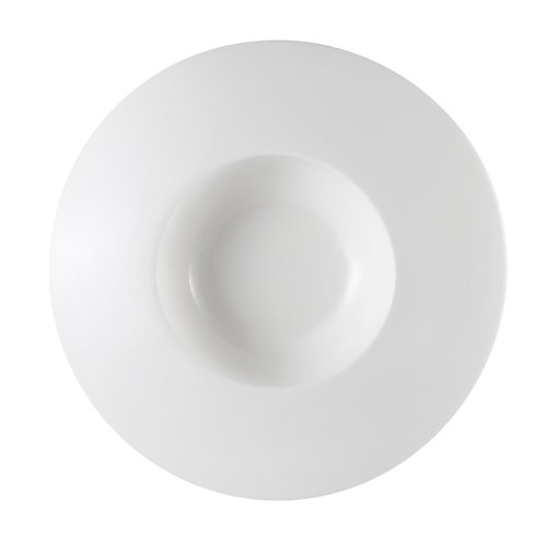 CAC China PS-107 3.5-Ounce Porcelain Round Bowl with Wide Draping Rim, 7 by 1-1/4-Inch, Super White, Box of - 3.5 Ounce Porcelain