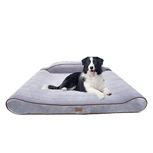FMZG Large Dog Bed Pillow with Solid Orthopedic Memory Foam Waterproof Lining Detachable Soft Anti-Allergy Composite Fabric Latex Anti-Skid Backrest Version