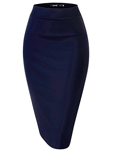 TWINTH Womens High Waist Stretchy Fabric Comfy Midi Skirts NAVY,2XL