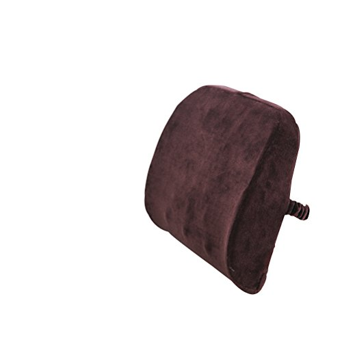 Cottile Brown Lumbar Back Support Cushion Pillow with Velour Cover and Ergonomic Design.Perfect for Office and Car Use