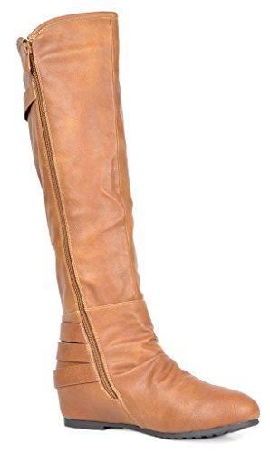 DREAM PAIRS Womens Akris Knee High Hidden Wedge Winter Riding Boots Camel Pu tnAKDxI