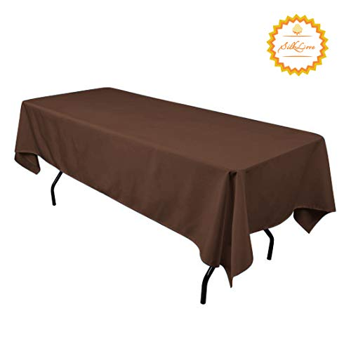 SilkLove Tablecloth - 60 x 102 Inch -Chocolate-Rectangular Polyester Table Cloth, Wrinkle,Stain Resistant - Chocolate for Buffet Table, Parties, Holiday Dinner & More