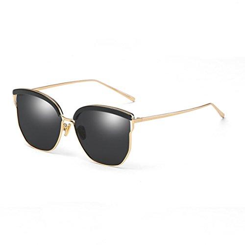 para Sol Harajuku Gafas de polarizadas Gafas Mujer Color Sol Ash Black de TangMengYun Silver Estilo Retro wCpnaxqFw