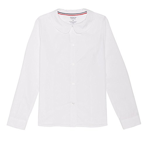 (French Toast Girls' Toddler Long Sleeve Modern Peter Pan Collar Blouse, White)