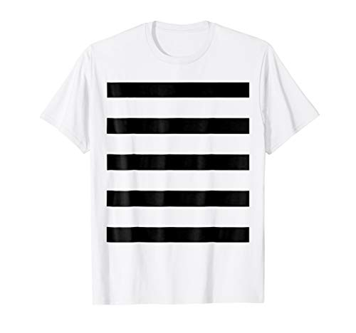 Bandit Burglar Prison Costume Black White Wide Stripe