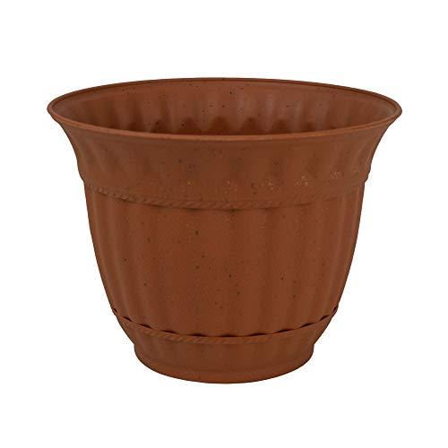 Fluted Rim Saucer - 6 Pack 6 Inch Plastic Flower Pot Sienna Burn Decorative Attached Saucer Garden Planter