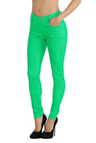 (Fit Division Women's Jean Look Cotton Blend Jeggings Tights Slimming Full Lenght Capri Bermuda Shorts Leggings Pants S-3XL (M US Size 6-8, FDJN827-GRN))