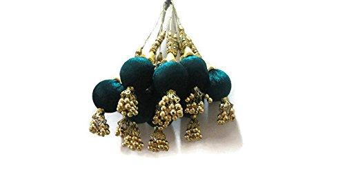 Turquoise Big Round Tassel Sound Beads Latkan Embellished Beautiful Dress Lehanga Velvet Tassels -Price for a Pair-IDLA34