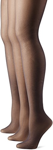 No Nonsense Women's Control Top Pantyhose 3-Pack, Off Black, Plus ()