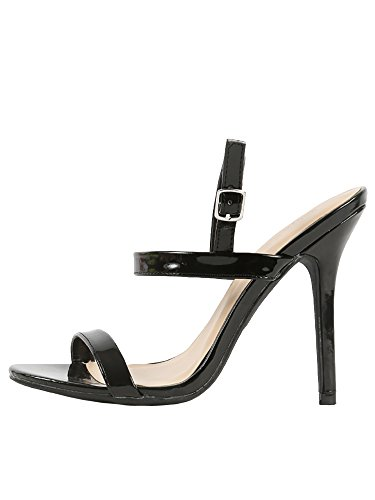 Wild Diva Lounge Adele Slingback Ankle StrapStiletto High Heel Shoe Sandals (7.5, Black)