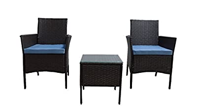 GOJOOASIS Outdoor Patio PE Wicker Rattan Sectional Furniture Conversation Set with Cushion and Pillow, Steel Frame, Black