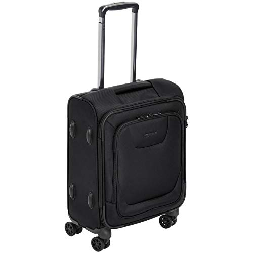 AmazonBasics Expandable Softside Carry-On Spinner Luggage Suitcase With TSA Lock And Wheels - 18 Inch, - Bag Overhead Roller